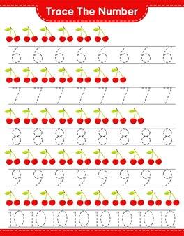 Rastreie o número. rastreando o número com cherry. jogo educativo para crianças, planilha para impressão