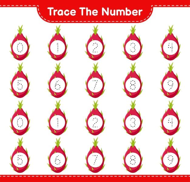 Rastreie o número. rastreando o número com fruta do dragão. jogo educativo para crianças, planilha para impressão