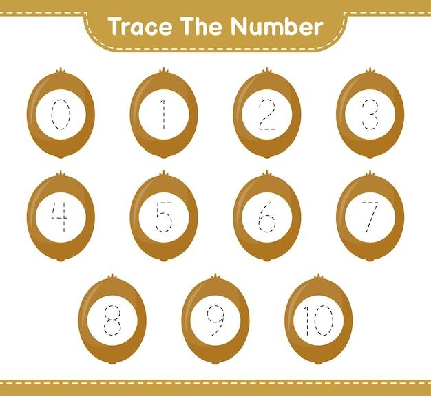 Rastreie o número. rastreando o número com kiwi. jogo educativo para crianças, planilha para impressão