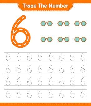 Rastreie o número rastreando o número com óculos de sol. planilha para impressão do jogo educativo para crianças