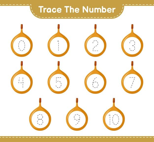 Rastreie o número. rastreando o número com voavanga. jogo educativo para crianças, planilha para impressão