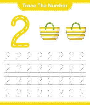 Rastreie o número. rastreie o número com a planilha para impressão do jogo infantil beach bag educacional