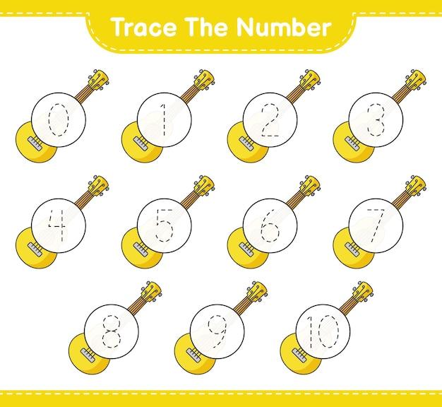 Rastreie o número. rastreie o número com ukulele.