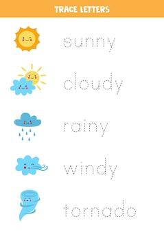 Rastreie os nomes dos eventos climáticos. prática de caligrafia para crianças em idade pré-escolar.