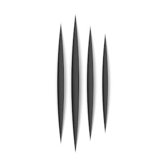 Rastro de arranhão animal garras pretas. forma de pata de arranhões de gato ou tigre. rastreamento de quatro pregos. ilustração em branco