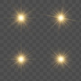 Rastro de poeira de estrelas cintilantes douradas de partículas cintilantes em fundo transparente. a cauda de um cometa cósmico.