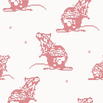 Rat - malha padrão uniforme na cor vermelha. símbolo de 2020 no calendário chinês.