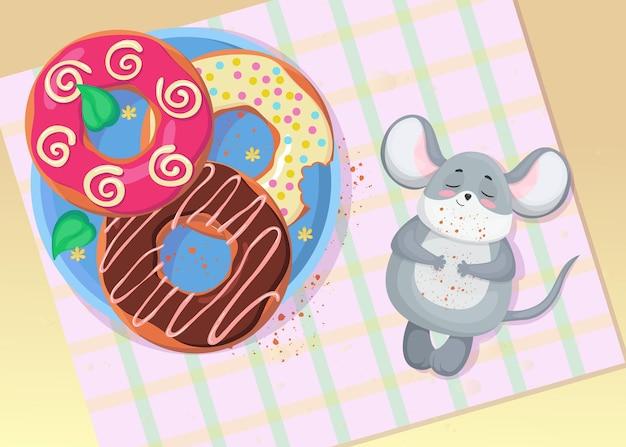Ratinho fofo relaxando depois de comer ilustração de donut