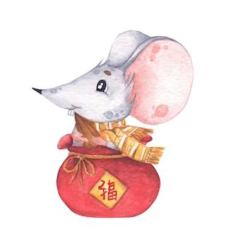 Ratinho sentado em uma pequena bolsa vermelha com semente de girassol, ano novo chinês do rato. os chineses traduzem boa sorte. ilustração em aquarela