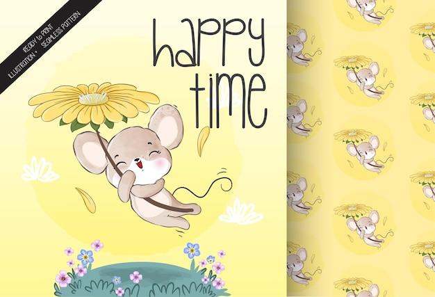 Rato bebê animal fofo voando com flor padrão sem emenda