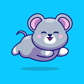 Rato bebê fofo correndo desenho animado