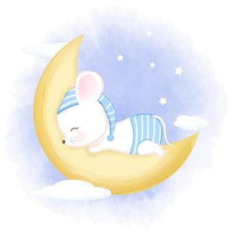Rato bebê fofo dormindo na ilustração da lua