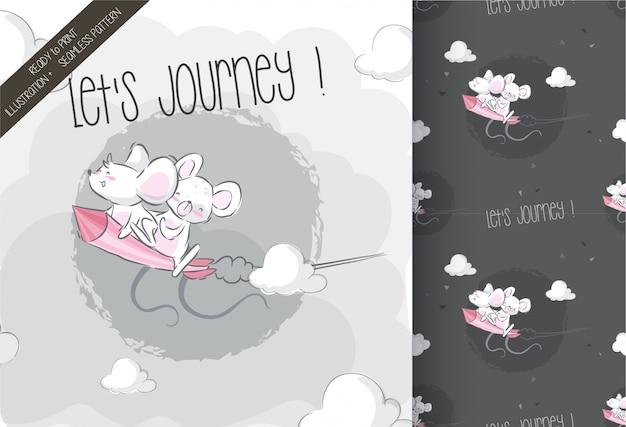 Rato bebê fofo no padrão de seamles de foguete