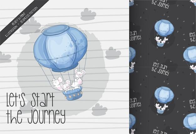 Rato bebê fofo voando com padrão sem emenda de balão de ar