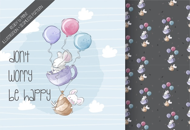 Rato bebê fofo voando ilustração sem costura padrão