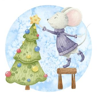 Rato bonitinho com árvore de natal.