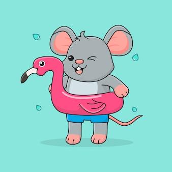 Rato bonitinho com flamingo anel de natação