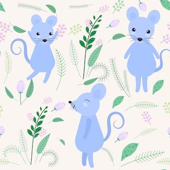 Rato bonitinho com floral e folha padrão sem emenda
