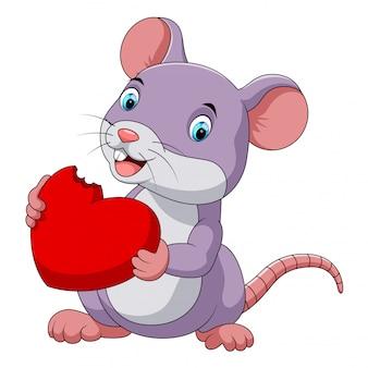Rato bonitinho comendo chapéu vermelho