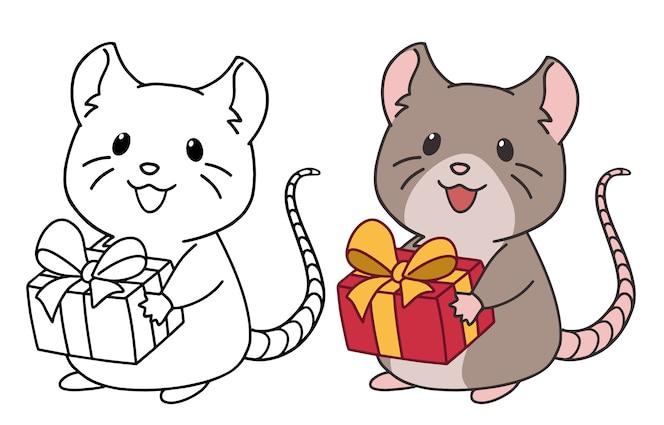 rato bonitinho usando chapéu de papai noel dá um presente. contorno e imagens coloridas. mão de ilustração vetorial desenhada