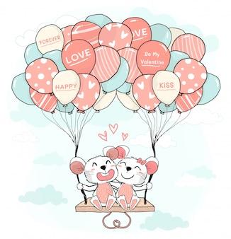 Rato bonito casal de amantes abraça e senta no balanço de balão pastel colorido no céu azul