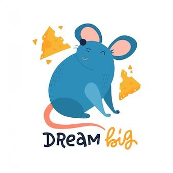Rato bonito com fatias de queijo isoladas no fundo branco. letras manuscritas - grande sonho.