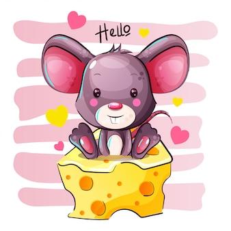 Rato bonito dos desenhos animados está sentado em um queijo
