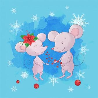 Rato bonito dos desenhos animados menino e menina. cartão de felicitações para o ano novo e o natal.