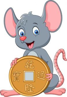 Rato bonito dos desenhos animados, segurando a moeda de ouro