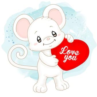 Rato bonito em aquarela branco com almofada de coração