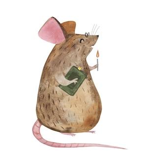 Rato bonito em óculos com um livro e uma vela.