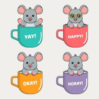 Rato bonito para dentro caneca