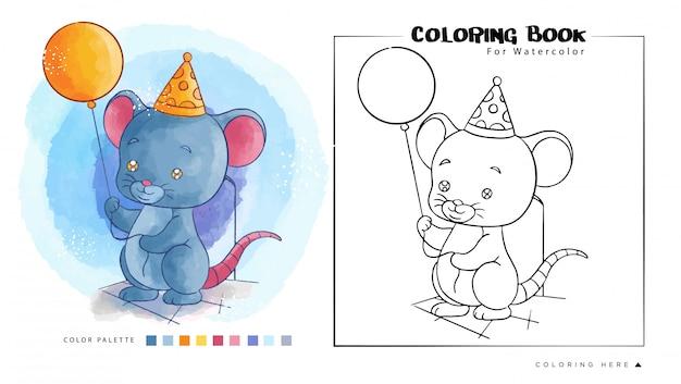 Rato bonito segurar balão de aniversário. ilustração dos desenhos animados para livro de colorir em aquarela