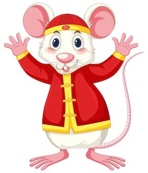 Rato branco em traje chinês