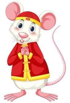 Rato branco, vestindo traje chinês