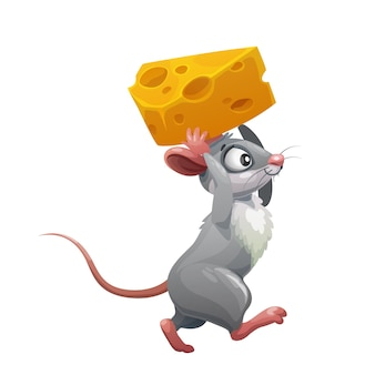 Rato cinza de desenho animado com queijo, animal rato engraçado