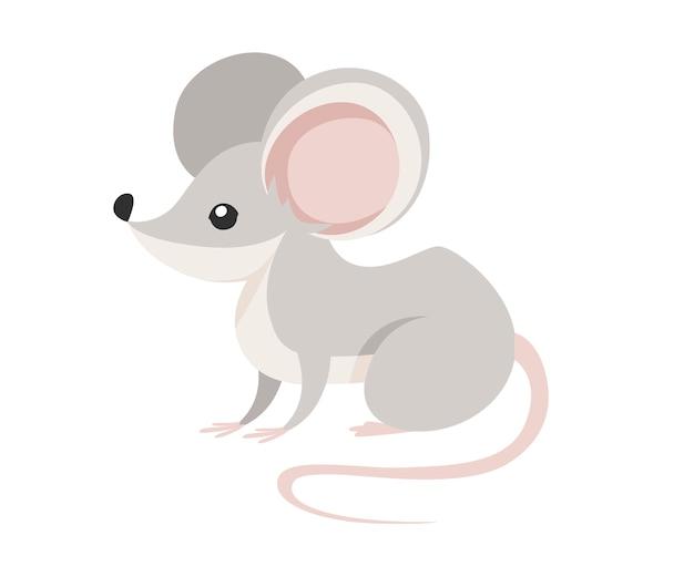 Rato da floresta cinza estilo de desenho animado rato de madeira