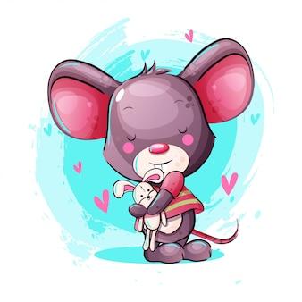 Rato de bebê bonito dos desenhos animados com brinquedo coelho