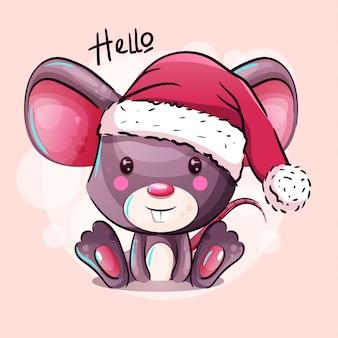 Rato de bebê bonito dos desenhos animados no chapéu de papai noel. desenho de mão desenhada