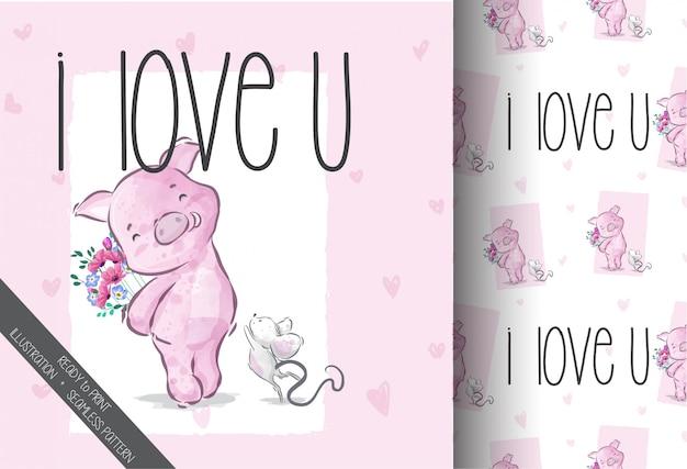 Rato de bebê fofo desenho animado caindo no padrão sem emenda de amor