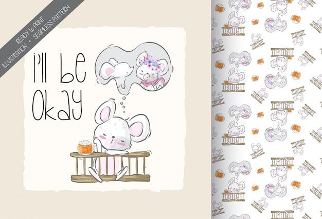 Rato de bebê fofo dos desenhos animados, caindo no padrão sem emenda de amor