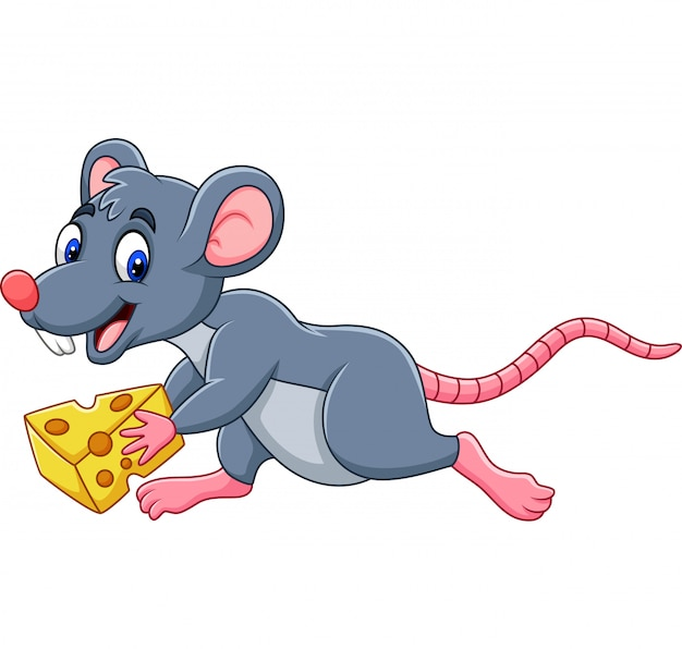 Rato de desenho animado correndo com fatia de queijo