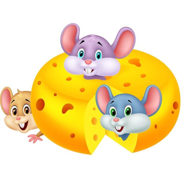 Rato de desenho animado escondido dentro de queijo cheddar