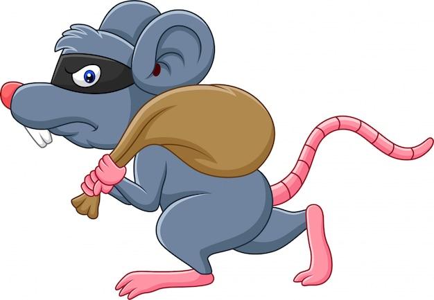 Rato de desenho animado ladrão roubando o saco e correndo