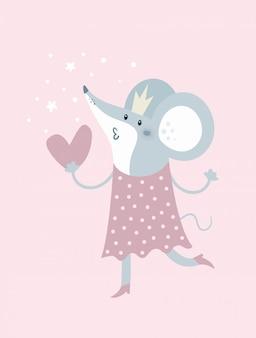 Rato de desenho animado na coroa e com coração