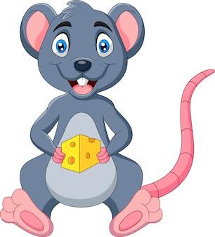 Rato de desenho animado, segurando a fatia de queijo