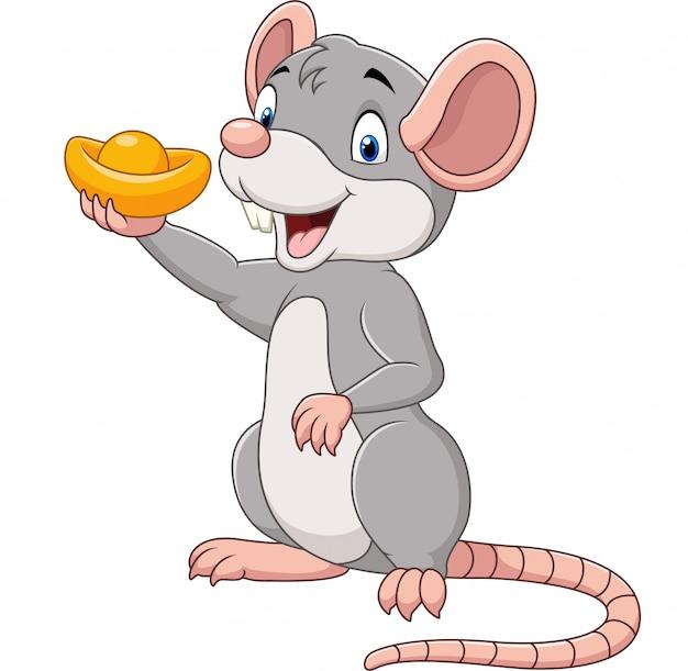 Rato de desenho animado, segurando o lingote de ouro