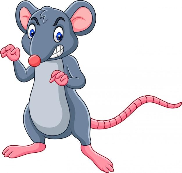 Rato de desenhos animados com expressão de raiva