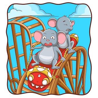 Rato de ilustração de desenho animado brincando de montanha-russa