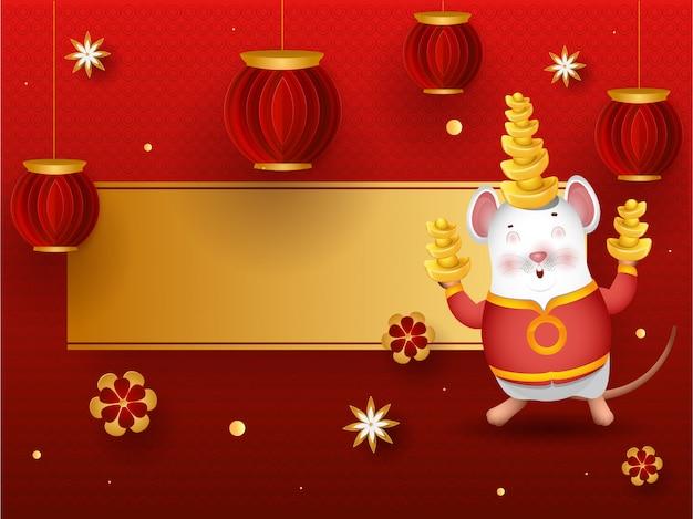 Rato de personagem de desenho animado, segurando o lingote com lanternas de corte de papel.